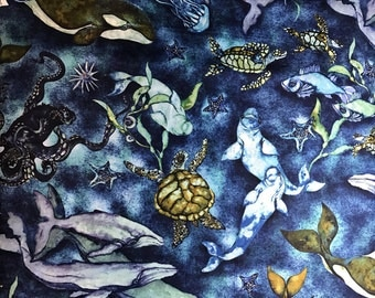 Sea Turtle Fabric Wilderness Expressions by Karla Morreira- for Robert Kaufman By the HALF Yard-Yardage