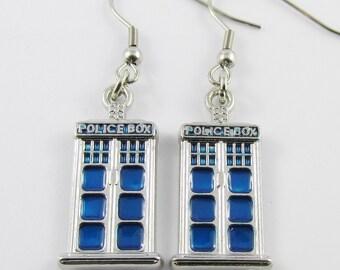 Inspired by Dr Who Tardis Charm Hook Earrings 50mm Stainless Steel Hooks