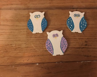 Wooden Owl Magnets-Set of 3-Blues & Purples