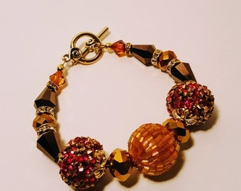 Pink and Chocolate Confetti Bracelet