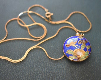 Cobalt Blue Cloisonne Double Sided Pendant With Flowers and Butterflies Gold Toned