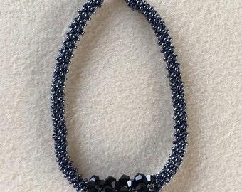 Black Bead and Crystal Elegance