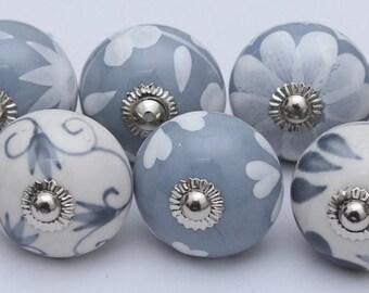 Grey Color Ceramic Knobs Handpainted Kitchen Cabinet Drawer Pulls Handmade Ceramic Door Knobs Furniture Hardware Knobs
