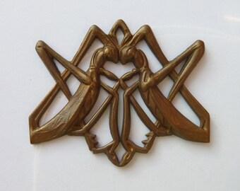Rare Art Deco French Grasshopper Pendant (1pc)Vintage French Brass pendant/French brass stamping/Deco French Stamping/Vintage brass Stamping