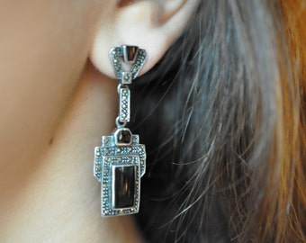 Vintage Art Deco Onyx, Marcasite and Sterling Silver Earrings