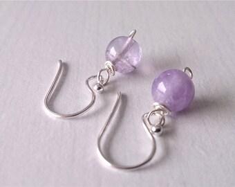 amethyst earrings, amethyst sterling silver, amethyst jewelry, earrings, gift for her, gemstone jewelry,minimalist jewelry,Yoga jewelry,gift