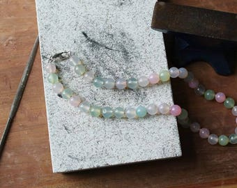 Hand Knotted Pastel Quartz & Silver Bead Necklace