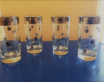 Vintage Silver Band/Silver Polka Dot Glasses, Mid Century Barware, High Ball Glasses (4)