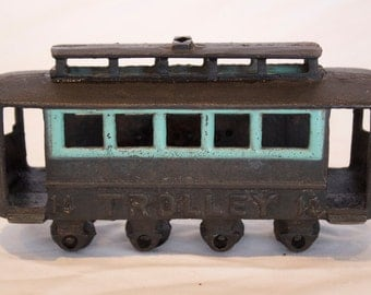 Vintage Cast Iron Troller Car # 14 with Moving Wheels