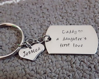 A Daughter's First Love Key Chain, Personalized Name/Initial on Heart Tag, Hand Stamped Daddy A Daughter's First Love, Father's Day gift