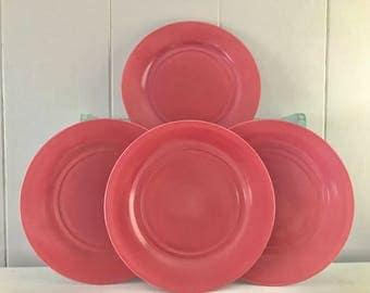 Hazel Atlas Moderntone Pink Platonite Dinner plates