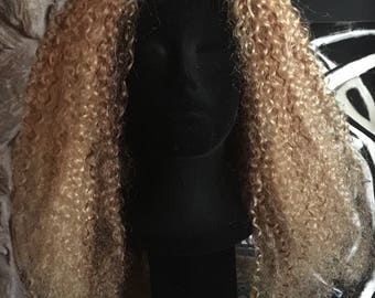 Curly Wavy wig, 100% Human Hair Wig, Curly Wig, Wavy Wig, Remy, Golden Blonde Wig and Platinum Blonde highlights, Lace Wig