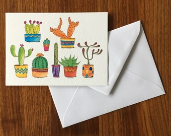 Cactus-greeting card illustration by Anke van Horne-blank rear-includes envelope