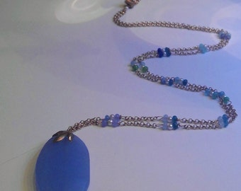Jade pendant necklace with semiprecious stones and big blue