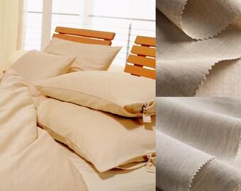 organic LINEN bedding set (duvet cover and pillow / shams), handmade from semi light / midi linen in natural color