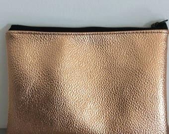 Metallic 'fudge' faux leather clutch bag