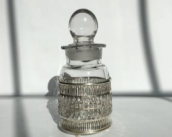 Vintage Blown Glass Container with Silver Plated Cage