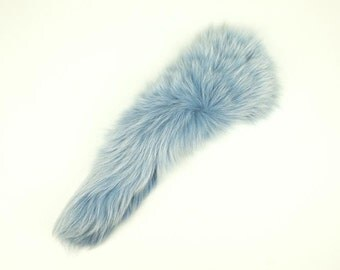 Premium Dyed Fox Tail in Baby Blue