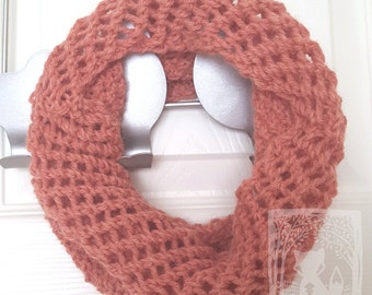 Peach Cowl, 100% Wool, Soft and Warm