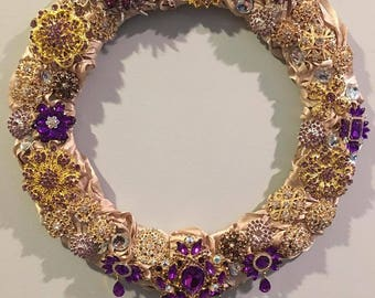 Luxe Petite Wreath Champagne, Purple, and Gold Charmeuse  Satin 3d Rosette fabric brooch wreath