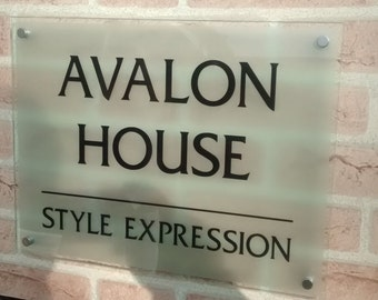 House or Office Sign Frosted Glass Effect Large 40 x 30cm Now with 4 metal spacer