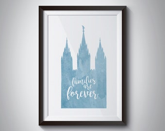 family is forever temple print, lds print, lds inspirational, lds decor, digital download, instant download