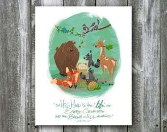 Woodland Creatures with Baby – Job 12:10 – 8x10 Art Print