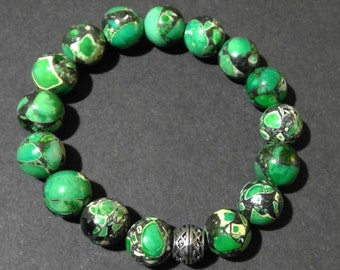 Jasper Leopard Green Crystal Beaded Bracelet (5551)