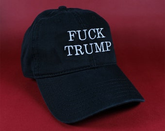 Fuck Trump Black Pink White Dad Hat Dad Cap Baseball Hat Baseball Cap Embroidered Low Profile Casquette Strap Back Adjustable Cotton