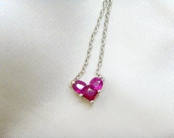 925 Silver Natural Ruby Heart Necklace