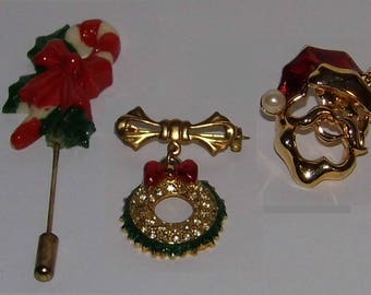 You Choose 3 Vintage Christmas Pins - Holiday Brooch - World Wide Priority Shipping MORE in Shoppe!