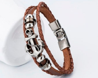 Brown tan leather bracelet, Braided leather bracelet, Womens bracelet, Womens nice cute charming bracelet, Anchor charm, Cheap jewelry