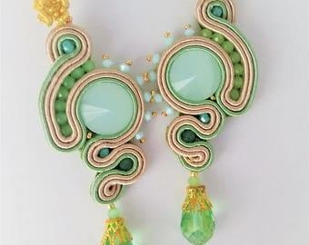 soutache earrings opal turquoise green