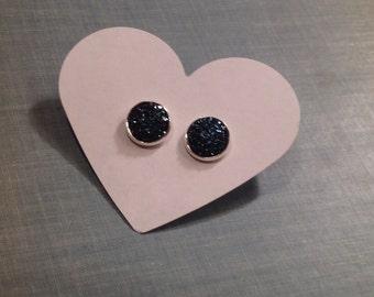 Navy Blue Druzy earrings - approx 12 mm