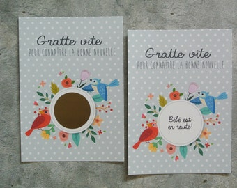 pregnancy announcement card scratch birds
