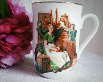 Free US Shipping Vintage 1985 Norman Rockwell Mug / Dreams in the Antique Shop /  Porcelain Coffee Cup Teacup/ Gold Trim on Rim / Americana