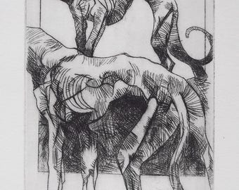 "Print, Engraving, Drypoint, ""Greyhounds"""