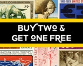 Buy two and get one free! USA Stamp Art. Buy any two prints and get a third for free! Free shipping to the US and Canada. 33% savings