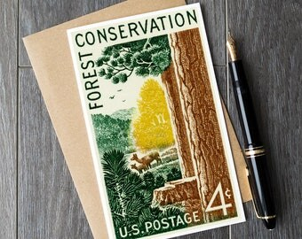 forest birthday card, conservationist retirement cards, nature conservation christmas cards, US national parks cards, nature conservancy art