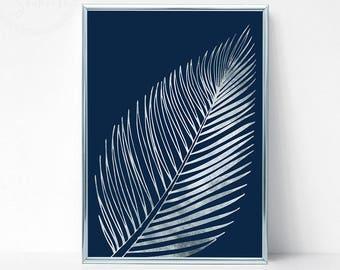 Silver Printable Palm Leaf Wall Decor, Silver Palm Leaf Art Print, Silver Tropical Leaf Decor, Silver Bedroom Decor, Silver Decor Above Bed