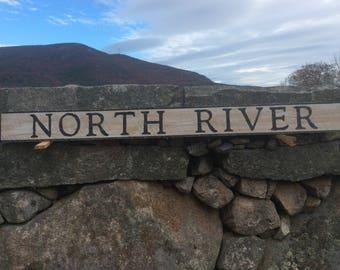 North River wood sign