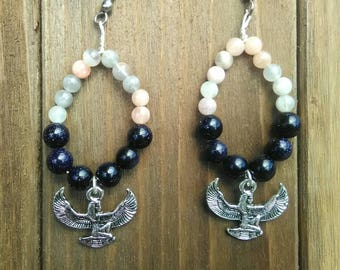 Egyptian Goddess Isis Earrings/Moonstone/Blue Goldstone/Beaded Hoop Earrings/Healing/Stone Beads