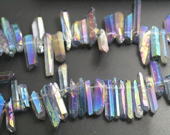 """15"""" one strand,Mystic Coated Titanium Quartz Point Beads,Electroplated Quartz Crystal Beads,Top Drilled Beads 3-10x12-30mm"""