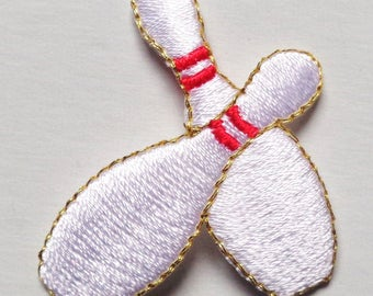 BOWLING PINS iron on patch applique