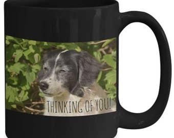 Coffee Mug! Springer Spaniel Adorable Black & White  Dog!!  Thinking of YOU! 15 oz Black Ceramic Coffee Cup!