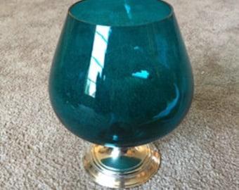 Sterling Glass Vase - Teal - Turquoise - Snifter - Vintage - Sterling Silver