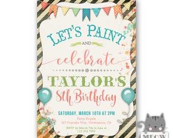 Paint Party Invitations, Lets Paint and Celebrate, Boy or Girl, Birthday Paint Party, 6th birthday, 7th birthday, 8th birthday, kids party