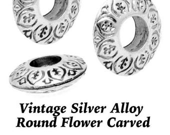 """Etched Silver Beads, """"VINTAGE"""", 4 pcs **FREE Shipping with orders 10 dollars+ **"""