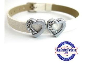 Rhinestone Heart for 8mm Slider Bracelets, Collars, Key Rings +FREE Shipping & Discounts*