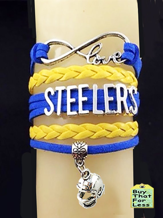 PITTSBURGH Leather bracelet- You CHOOSE CHaRM +Discounts & FREE Shipping*